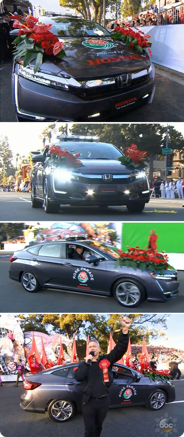 Photos of Clarity Plug-In Hybrid leading the Rose Bowl Parade